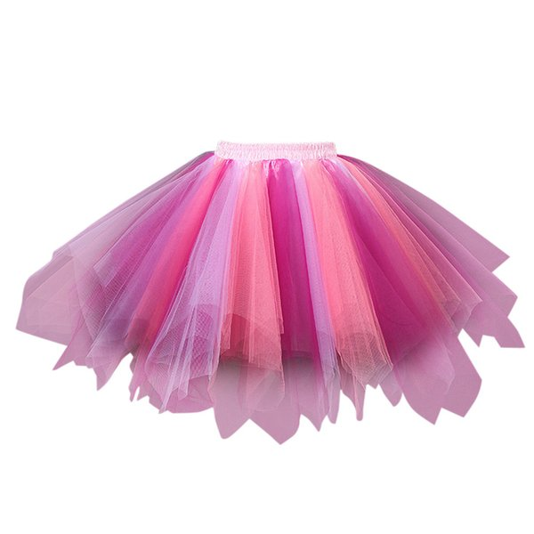 women Daily Fashion Colorful Skirts female Pleated Gauze Colours Short Skirt Adult Tutu Dancing Skirt Saias faldas mesh