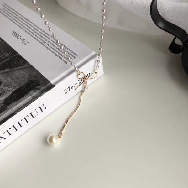 Red Personality Fashion Teen Heart Bow Necklace South Korea Simple Hundred Pearl Pendant Collarbone Chain Choker