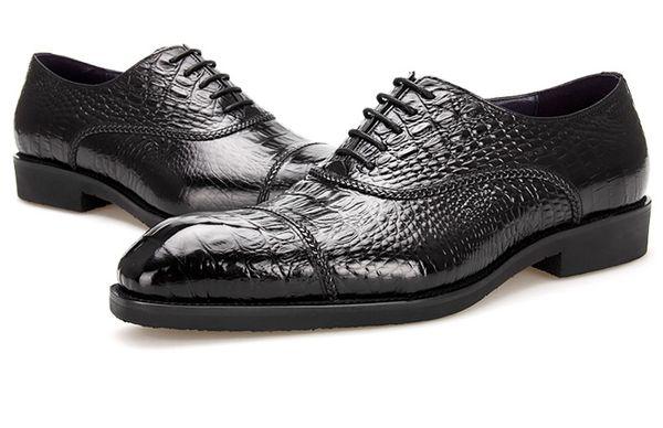 Large Size EUR45 Crocodile Grain Black Oxfords Boys Prom Shoes Genuine Leather Dress Shoes Mens Business Shoes