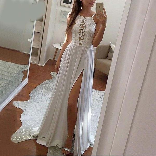 Charme rosso lungo abito da sera partito 2019 Abito da sera in avorio donne scoop in chiffon pizzo spiaggia economici Lady Slim Fit Maxi Dress