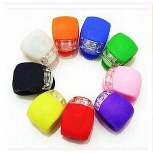 best selling Bicycle Cycling Lamp Silicone Bike Head Front Rear Wheel LED Flash Bicycle Light Warning taillight 8 Colors ZZA208