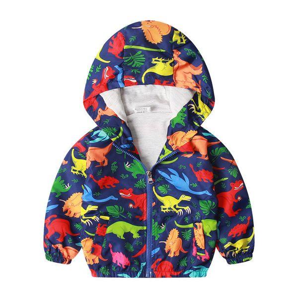 Explosão de roupas infantis jaqueta blusão impermeável das crianças dos desenhos animados com capuz de mangas compridas dinossauro impressão menino outono clothi