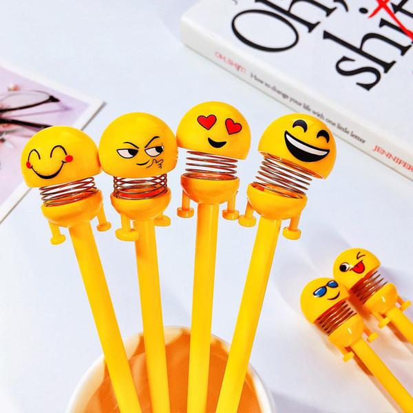 0.5mm Novedad recargable Plástico amarillo Sacudida de la cabeza Spring Top Cartoon Lovely Funny Smile Emoji Face Gel INK Pen para estudiantes Papelería Regalos