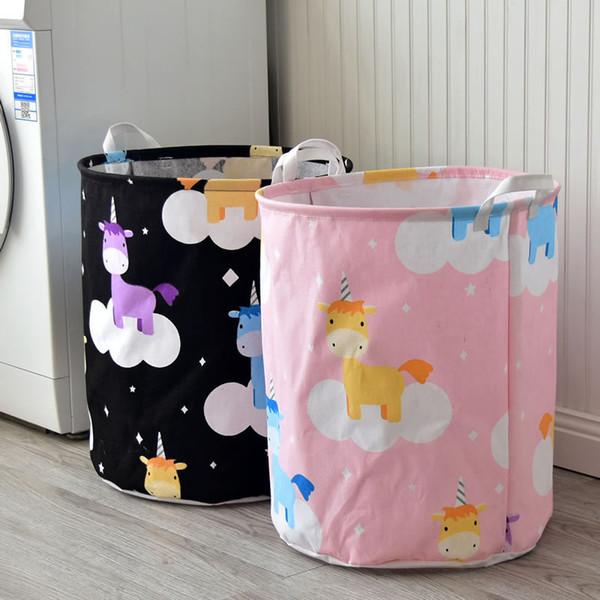 UK Dirty Wash Clothes Bucket Baby Kid Toy Canvas Laundry Basket Storage Bag Box