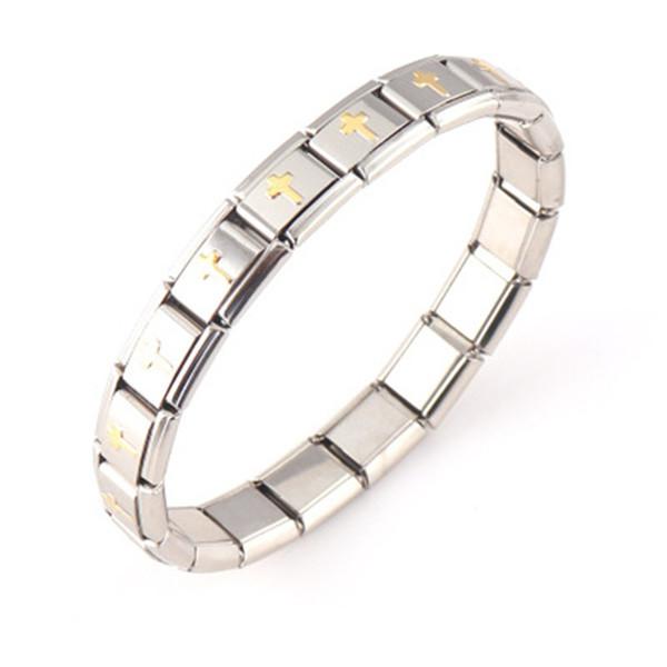 Mens Stainless Steel Cross Bracelet for men Religious Christian Cross Pendant Bangle, Elastic Adjustable Bracelet B072