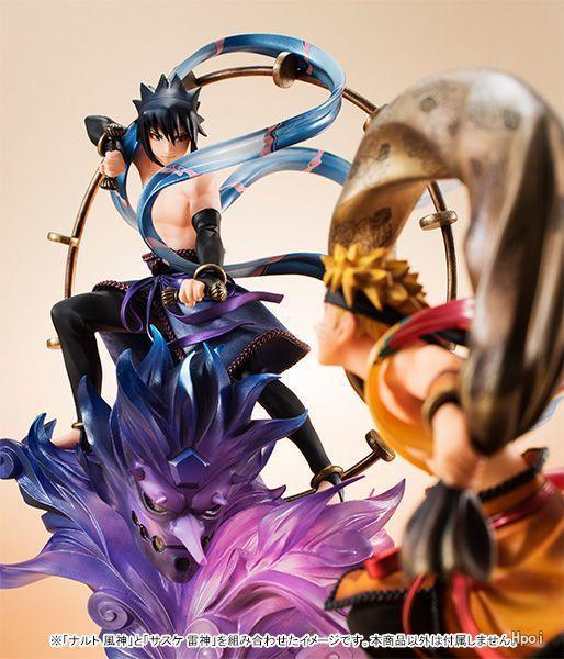 Japon Anime Action Figure NARUTO Naruto Uzumaki Sasuke Uchiha vent Ver modèle 18cm PVC Fighting Doll cadeau 2019 Nouvelle figurine