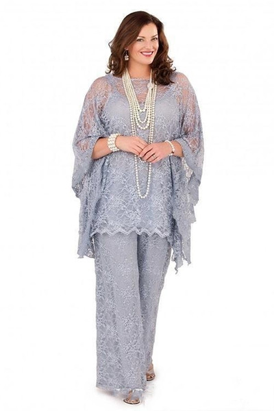 Custom Made Plus Size Mother of the Bride Pant Suits 2019 Long Sleeves Three Pieces Silver Gray Formal Women Groom Lace Mother Dresses