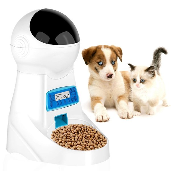 1pc automatic pet feeder with voice recording pets bowl for medium small dog cat lcd screen dispensers 4 times one day
