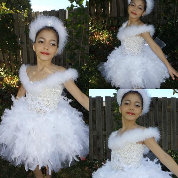 Pena branca Tutu Flores Meninas Vestidos Lace Beads Bailarina Vestidos de Dança Com Headbands Princesa Pageant Vestido Crianças Vestido de Festa de Casamento