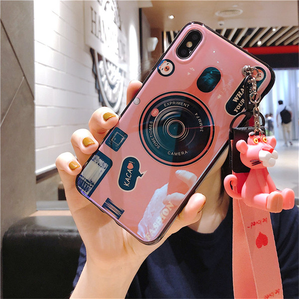 3D Retro Camera Phone Case For Samsung Galaxy Note 10 Plus 9 S10 Plus S9 S8 A10 A20E A30 A40 A50 A70 A80 Cute Toy Silicone Case With Lanyard