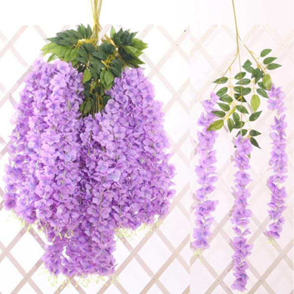 Wisteria Düğün Dekor 110 cm Yapay Dekoratif Çiçekler Yüksek Yoğunluklu Yapay Çiçek Asma Ev Bahçe Dekor 5 Renkler