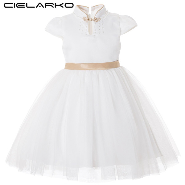 Cielarko Kids Dress For Girl Princess Big Bow Abiti eleganti White Gold Flower Girls Wedding Party Dress Fancy Design collare J190615