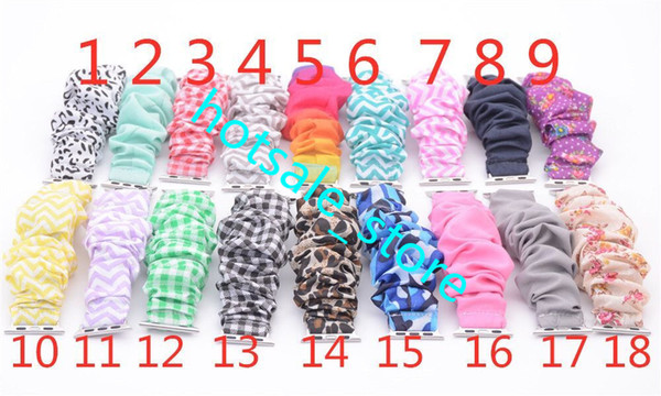 best selling Leopard Scrunchie watchband leopard solid color  stripe apple scrunchie watch band cloth fashion wrist band 18 Colors Monnogrammed