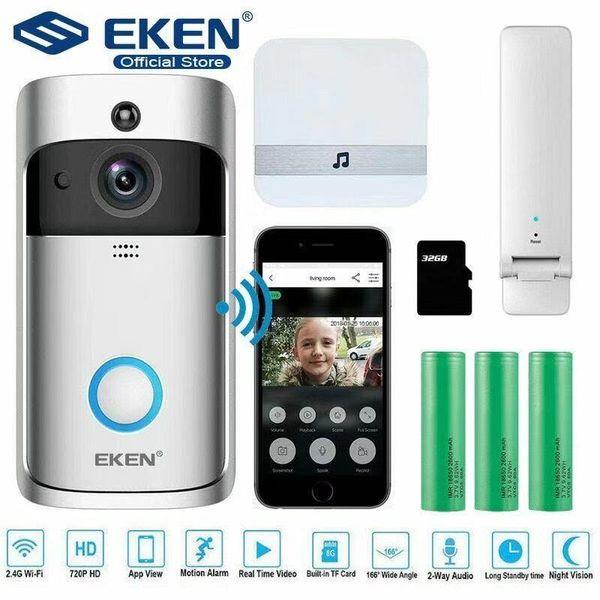 best selling Official Original Eken V5 Two Way Audio Doorbell HD 720P Wireless WIFI Night Vision Camera App Control