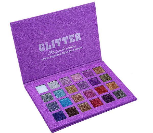 Marca de fábrica caliente 24 colores Glitter Paleta de sombra de ojos altamente pigmentada Shimmer Sombra de ojos a prueba de agua de larga duración Fiesta de la boda Maquillaje Pallet