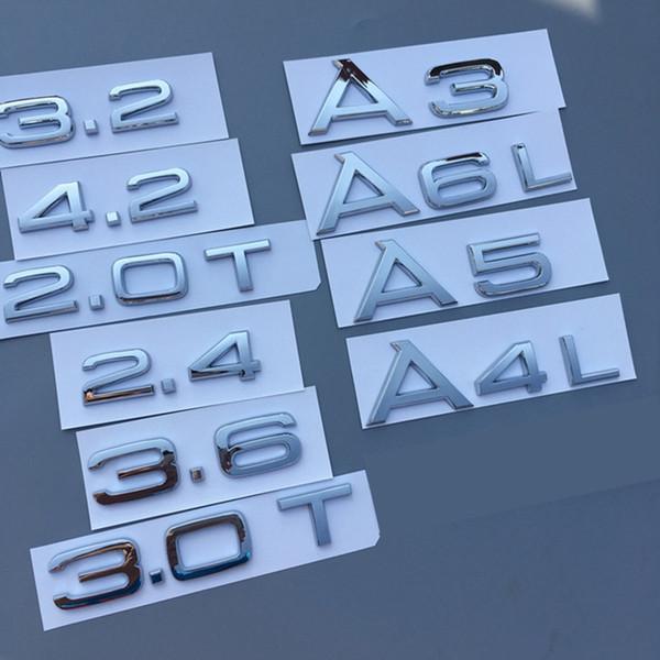 Chrome 1.8T 2.0T 2.4 3.0T 3.2 3.6 4.2 A3 A4 A5 A6L A7 A8L Número de letra Insignia Emblema Tronco de coche Capacidad de descarga Insignia Etiqueta adhesiva con el logotipo