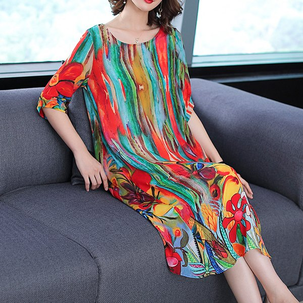Fall 2018 Womens Clothing Natural Silk Dresses Size Plus Dress Striped Summer Elegant Noble Party Dress Robe Midi Print Floral Y190410