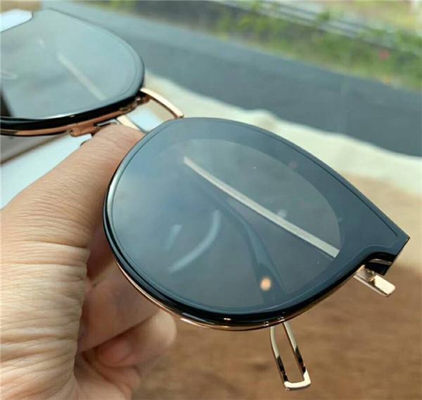 New Fashion Korean Designer Sunglasses Big Face Logo 2125 Charming Cat Eye Retro Frameless Ultraviolet Lens Outdoor Style