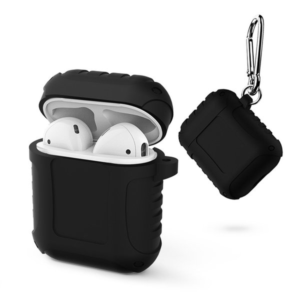 For Apple AirPods Protective Shockproof Silicone Case Pouch With Hook Dust Plug Retail Package For iPhone Wireless Earphone