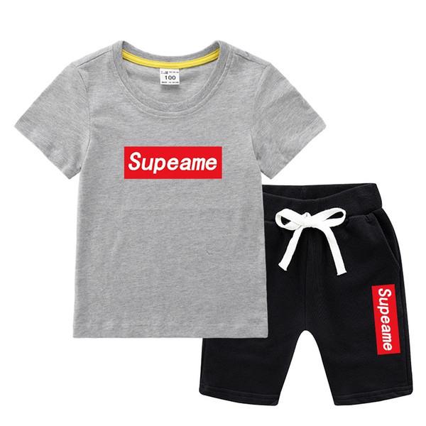 Детская одежда для мальчиков и девочек, детская одежда из 100% хлопка, комплект футболок и шорт.