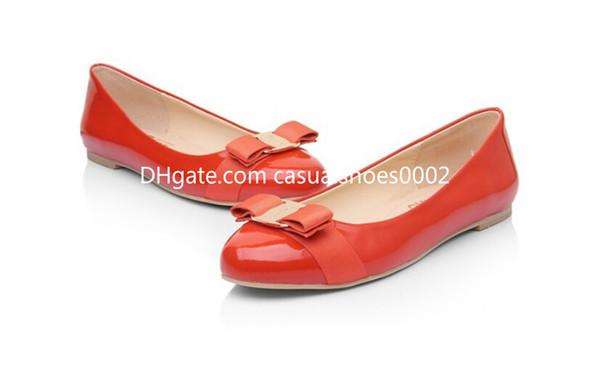 Tamanho grande Mulheres Apartamentos de Couro Genuíno Sapato de Balé Mulher Bow Tie Designer Flats Senhoras Zapatos Mujer Sapato Feminino v01