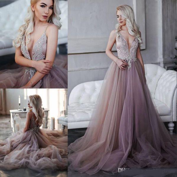 Erstaunliche Perlen Backless Prom Kleider Sheer Tiefer Hals Abendkleider Strass Vestidos De Fiesta Sweep Zug Tüll Formelle Kleidung