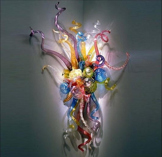 New Style 100% mundgeblasenem Glas LED-Lampen Wandleuchten Design Art Flower Wandleuchten