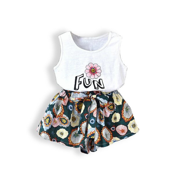 baby girls summer style clothing sets 2pcs kids Letters flowers sleeveless T-shirt + loose short pants children suits for girl