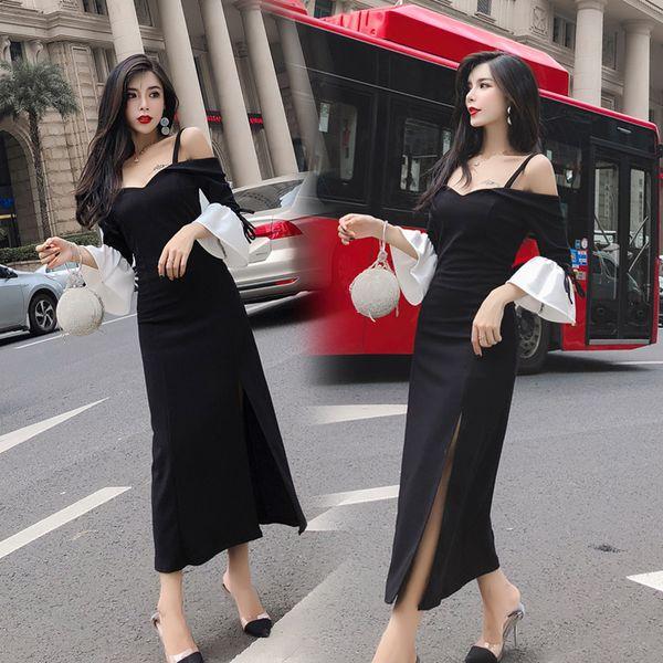 Women's Clothing slash neck patchwork flare sleeve women dress chic vintage strapless Dresses fashion hipster new spring autumn