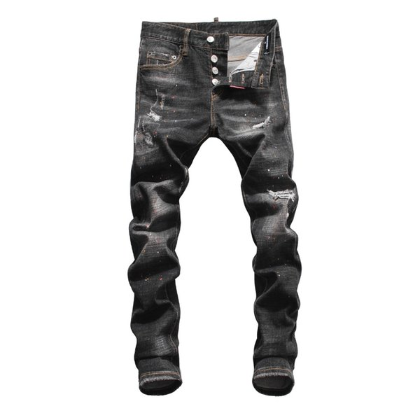 European American style famous brand men jeans luxury Men denim trousers casual Slim black hole brand jeans Pencil Pants for