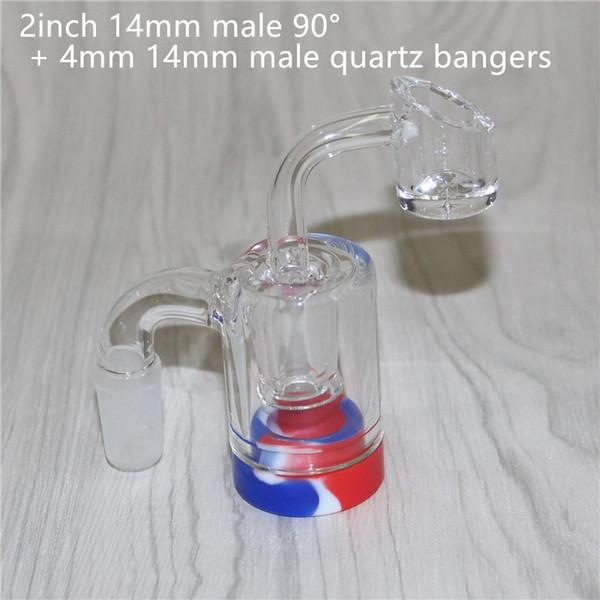 2-дюймовый 14-миллиметровый мужской 90 ° + 4-миллиметровый кварц banger
