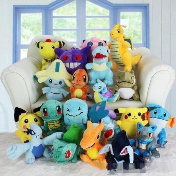 20 Estilos 13-20cm Animales juguetes de peluche antorcha Mewtwo Groudon Charmander eevee Pikachu Snorlax Muñecos de peluche blandos Regalo de Navidad Año Nuevo