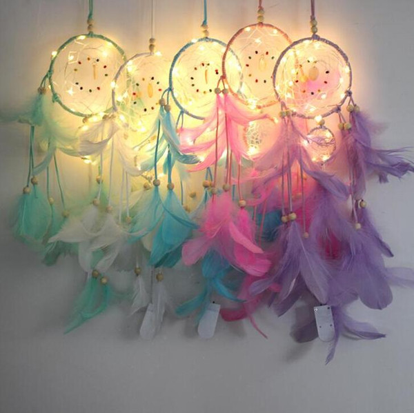top popular Lighting Dream catcher hanging DIY 56cm LED lamp Feather Crafts Wind Chimes Girl Bedroom Romantic Hanging decoration gift K64Q 2021