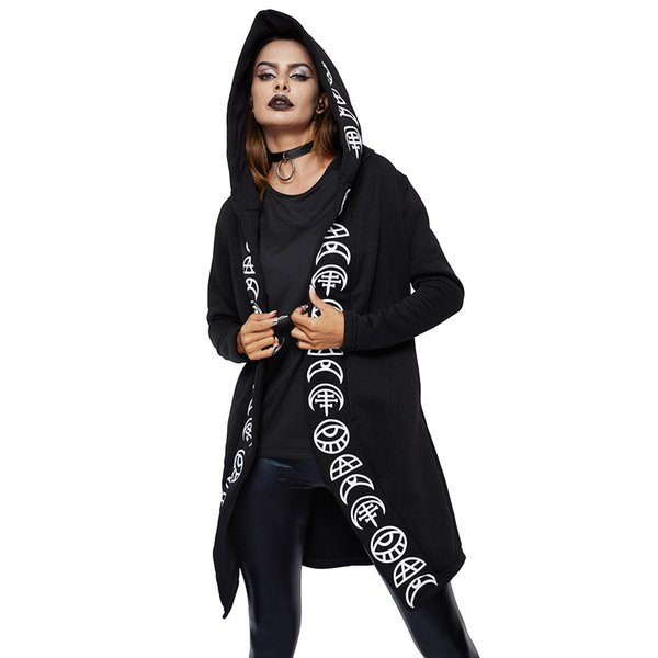 2018 Fall Gothic Casual Cool Chic Black Plus Size Women Sweatshirts Loose Cotton Hooded Plain Print Female Punk Hoodies C19040101