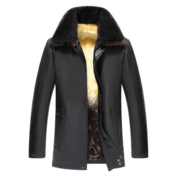 2019 Promotion Full Thin No Jaqueta Motoqueiro Jaqueta Masculino Leather Jacket Men New Mink Pu Men's Long Leather Jacket For