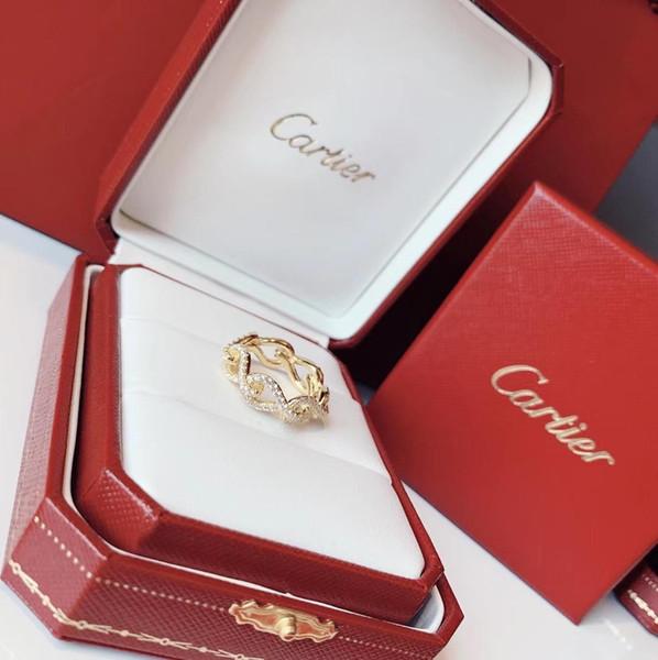 Collection de bijoux Bagues de créateurs Boucle Bagues 2019 Accessoires de mode de luxe Détails du diamant 360 degrés brillants Collections Infini