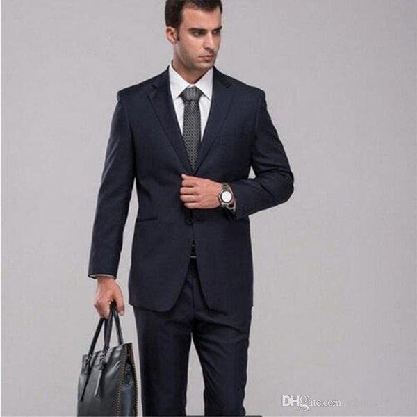 Latest Designs Mens Suits Navy Blue Wedding Suits for men Working Smoking Prom Suits Custom Made Groom Tuxedos (jacket+pant)
