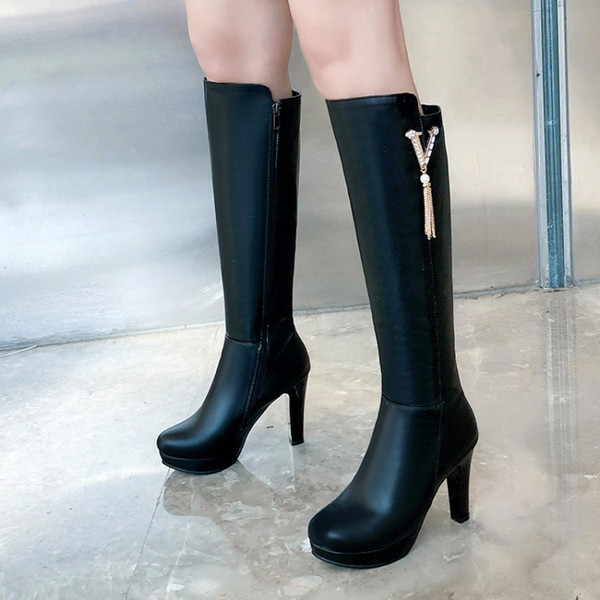 top popular Big small size 32 33 34 to 40 41 42 43 winter fashion womens tall knee high PU leather boots come with box 2021