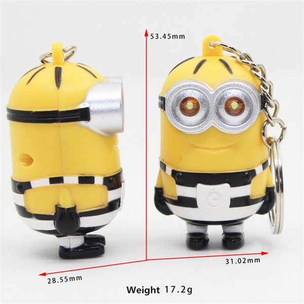 Cartoon Despicable Me Minions Keyring Cartoon Cute Doll Minions Anime Keychain with LED Lights Say I Love You Child Toys Pendant Keychains