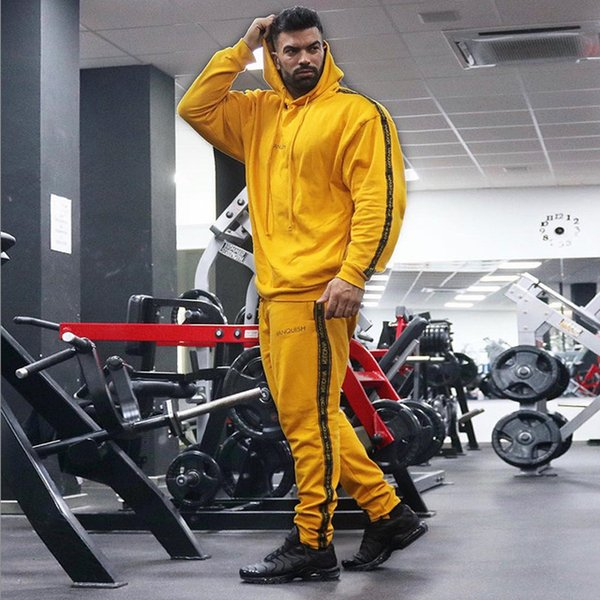 Men Running Sportswear Sweatshirt/Sweatpants Gym Fitness Workout Training Hoodies/Pants 2pcs/Sets Male Jogging Sports Clothing