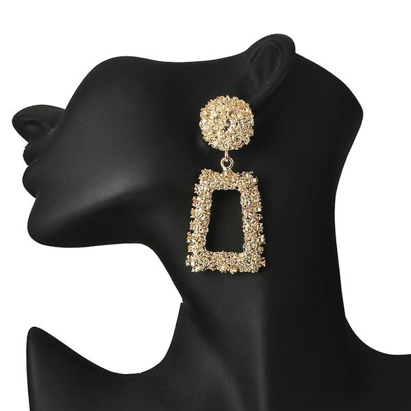 Large Geometric Pendant Earrings Charm Women Fashion Big Metal Earrings Handmade Dangle Earrings ZA Jewelry Earring Wholesale