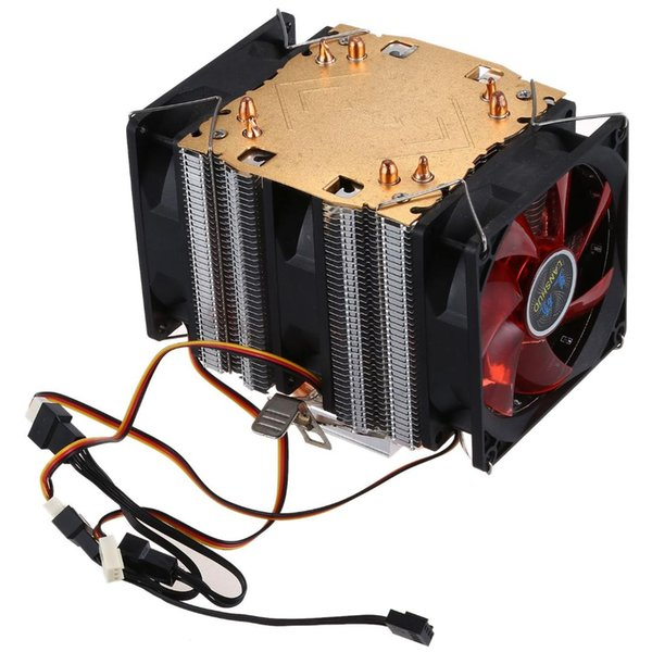 LANSHUO Pure copper 4 heat pipe for 1366 1155 775Intel/AMD multi-platform CPU radiator 3 wire with light three fans(Black+
