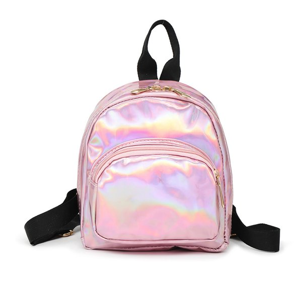 Women Mini Backpack Girls School Bags Glitter Pu Leather Holographic Backpacks good quality