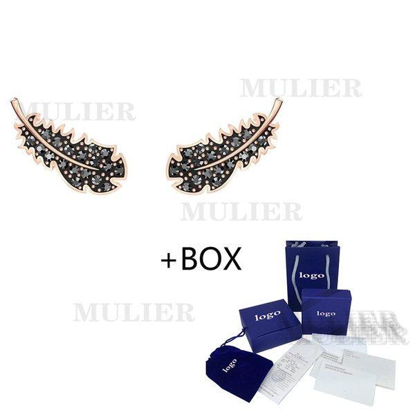 swa 2019 mulier autumn and winter new black feather earrings pierced earrings female models 5,059,272 jewelry home delivery