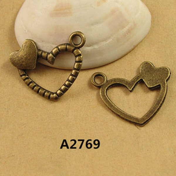 17*20MM love small hanging vintage heart charms lot, DIY antique bronze tag pendant accessories wholesale mobile phone materials