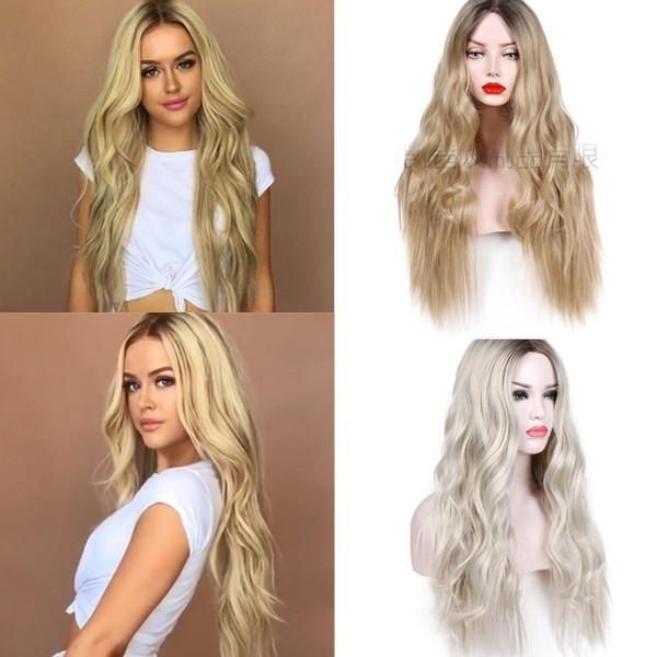 24inch gradient résistant à la chaleur synthétique long wavy Curly Blonde Lady Peruci Peruca perruques de cheveux avec un chemin au milieu
