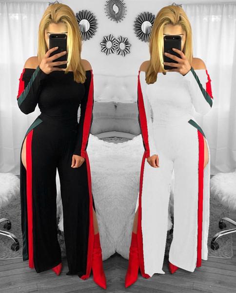 Frauen Strampler Sexy Slim Club Bodycon Elegante Overalls Sommer Overall Lange Hosen Europäische Mode Schulterfrei Langarm Overall