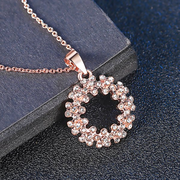Luxury Stainless Steel Wedding Necklace Jewelry Classic Pave Setting Rhinestone Circle Chokers Necklace For Women Wedding