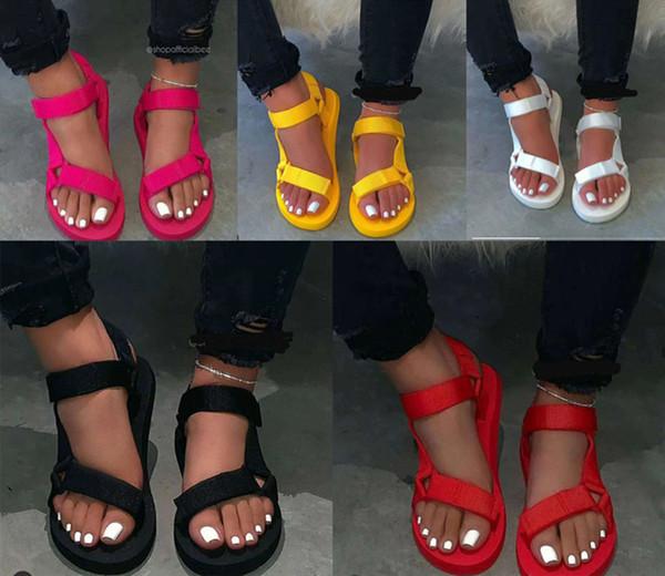 top popular Wholesale Women summer Sandals Beach Slides Gladiator plus size Flat platform slippers beachwear Bohemia candy color solid comfortable 0066 2020