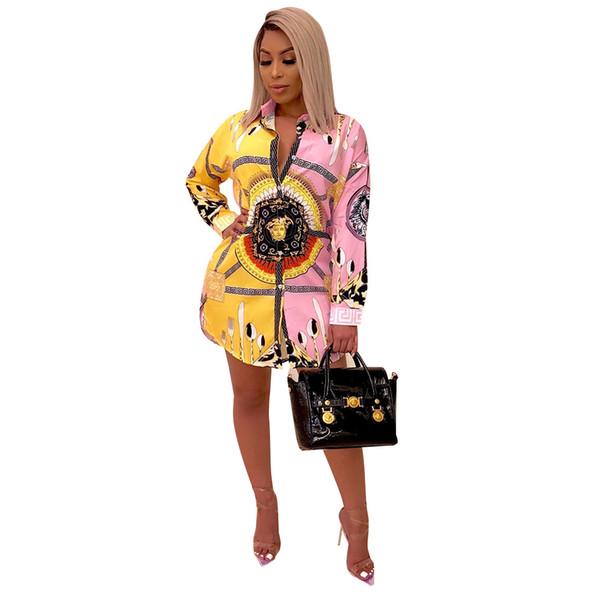 여름 새 패션 프린트 블라우스 드레스 여성 긴 소매 캐주얼 회전 칼라 숙녀 블라우스 긴 셔츠 드레스